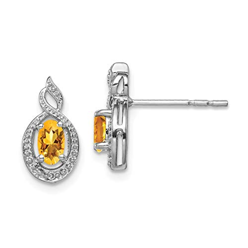 Earrings Diamond Citrine And (925 Sterling Silver Yellow Citrine Diamond Post Stud Earrings Birthstone November Set Fine Jewelry For Women Gift Set)