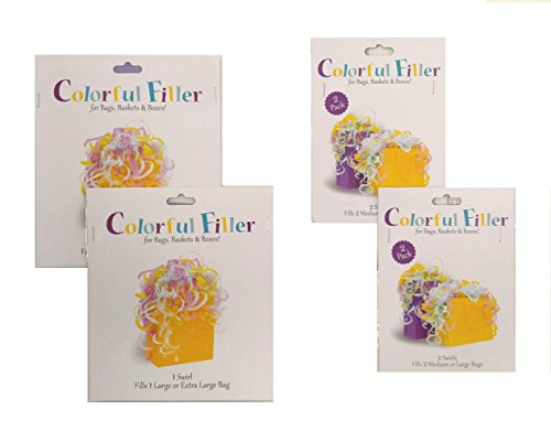 Set of 2 Large and 4 Medium Pastel Colorful Filler Tissue Wrap Swirls -