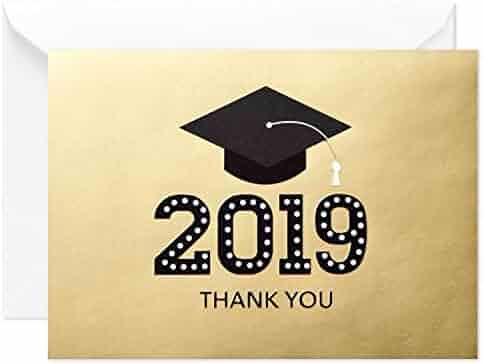 Hallmark Graduation Thank You Cards, Gold Graduation Cap (20 Thank You Notes with Envelopes)