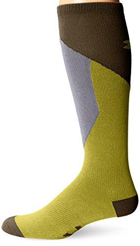 Under Armour Men's ColdGear Color Block Thin Over-the-Calf Socks (1 Pair), Citron Chartreuse/Dumpster Diver Green, X-Large