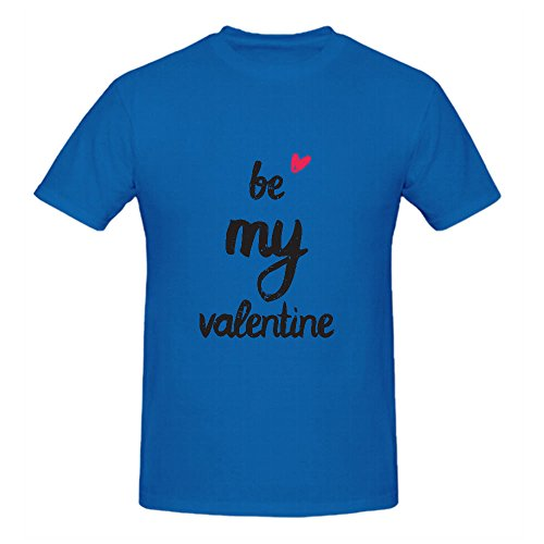 Be My Valentine T Shirts For Men Crew Neck Blue Screen Printed (Joseph Wool Flannel)