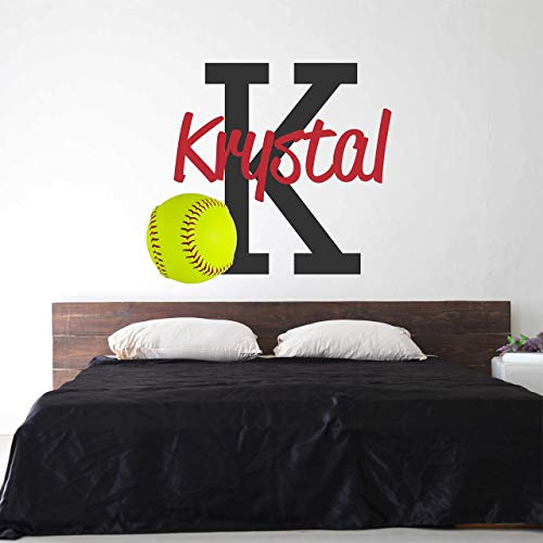 Softball Custom Name Wall Decal - Boys Girls Personalized Name Softball Sports Wall Sticker - Custom Name Sign - Custom Name Stencil Monogram - Boys Girls Room Wall Decor ...