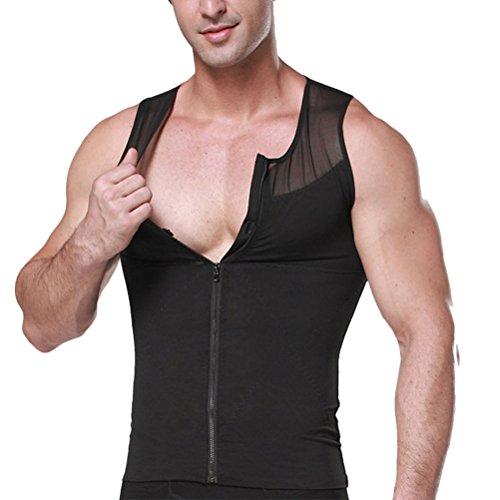 バッジ方言預言者Zhhlinyuan ファッション Mens Slimming Body Shaper Shirt With Zipper Sport Shapewear Compression T-Shirt Corset Sportswear
