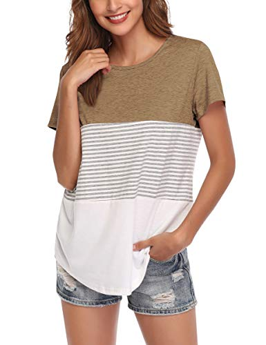 AUPYEO Women's Short Sleeve T Shirt Round Neck Color Block Stripe Top Casual Blouse Light Brown