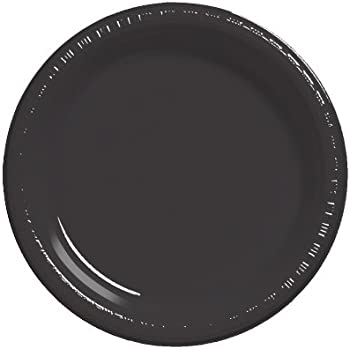 Creative Converting Touch of Color 50 Count Plastic Banquet Plates, Black Velvet