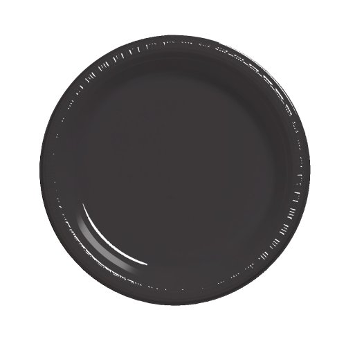 Creative Converting Touch of Color 50 Count Plastic Dinner Plates, Black Velvet -