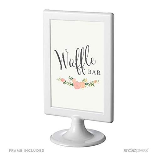 (Andaz Press Framed Wedding Party Signs, Floral Roses Print, 4x6-inch, Waffle Bar Reception Dessert Table Sign, 1-Pack, Includes Frame)