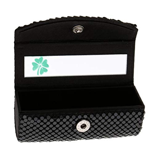 Lipstick Case Lipstick Holder Silky Satin Fabric Cosmetic Case with Mirror Four-leafed Clover, Snap-on Closure - Black