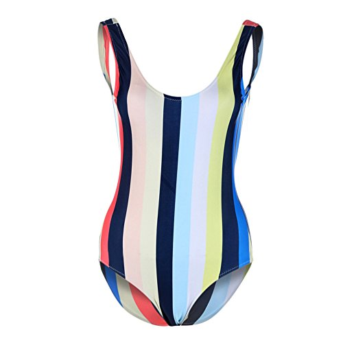 Fabal Sexy Rompers For Women Large Size Multicolor stripes sexy swimsuit (M)