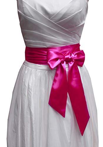 Wedding satin sash belt for special occasion dress bridal sash (Hot pink)