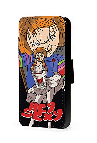 c riveras Chucky Annabelle Inspired Phone Case Funny Halloween Hey Sexy Mobile Case Fan Art Faux Leather flip Wallet Mobile Cover iPhone 7