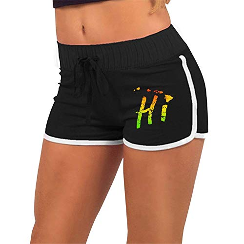 Hawaii HI Islands American,Workout,Running Active Short Pants with Athletic Elastic Waist Womens Sports Fitness Yoga Shorts
