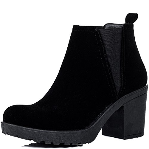 Women's BRYNLEE Suede Heel Black Chelsea Style Ankle Boots Block Platform SPYLOVEBUY O6F51AwqO