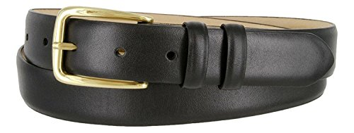 Andrew Genuine Italian Calfskin Leather Dress Belt for Men(Smooth Black, 34) (Buckle Black Calfskin Belt)