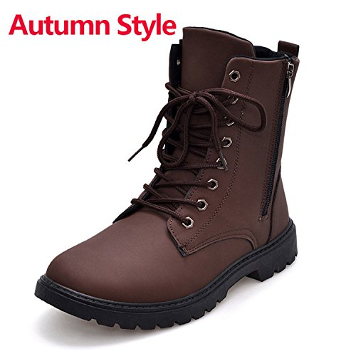 Meetloveyou Tactical Waterproof Winter Warm Snow Boots Men Vintage Leather Motorcycle Ankle Martin High Cut Male Casual Ankle Boots Autumn Boots Brown 10