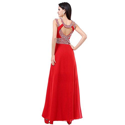 Collo cravatta Da Con Back Ruota Abito Donna He cut Out Formale abito A dress Rosso Sweep Sera Eautiful Nera CpB7qnXw