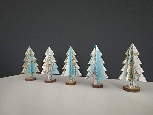 5er Set Dekokleiner Tannenbaum Aus Landkarten Tischdeko