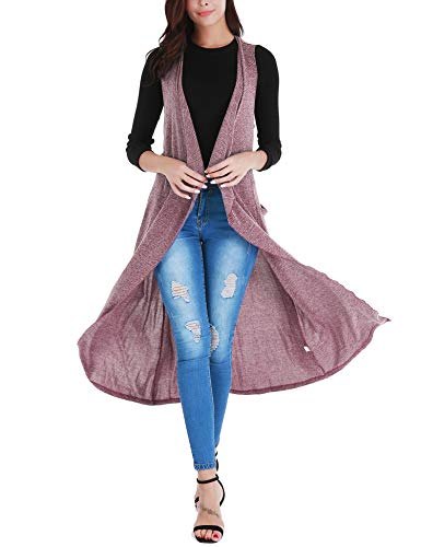 Uniboutique Women's Long Cardigan Sweaters Sleeveless Open Front Vest with Pockets and Belt Rose Red L