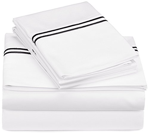 Pinzon 400-Thread-Count Egyptian Cotton Sateen Hotel Stitch Sheet Set - King, Black
