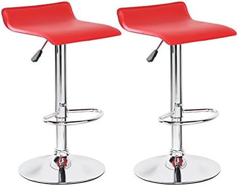 BELLEZE Bar Stool Leather Modern Adjustable Swivel Barstools Hydraulic Chair, Set of 2, Red