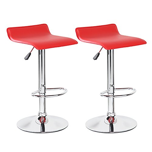 Belleze Bar Stool Leather Modern Adjustable Swivel Barstools Hydraulic Chair, Set of 2, Red (Red Barstool)