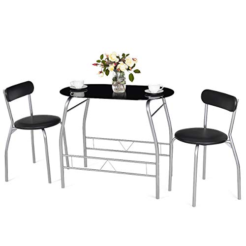 Tangkula 3 Piece Dining Set Modern Metal Frame Glass Top Table and 2 Chairs Set Home Kitchen Bistro Pub Breakfast Furniture, Black and Silver