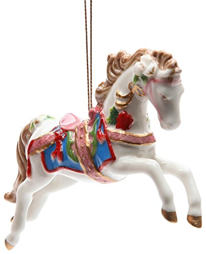 StealStreet SS-CG-10682 4.88'' White Painted Carousel Horse Christmas Tree Ornament by StealStreet