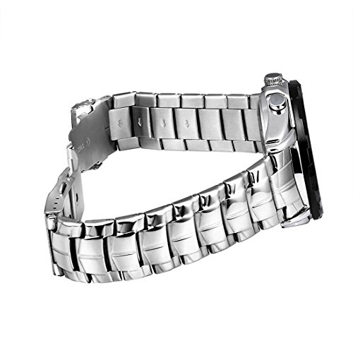 Round Dial Hardlex Watch Window Luminous & Alarm & Week Display Function Quartz + Digital Double Movement Men Watch With Alloy Band (Color : White) by Dig dog bone (Image #3)