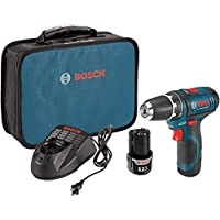 Bosch Power Tools Drill Kit – PS31-2A – 12V, 3/8 Inch, Two Speed Driver, Cordless Drill Set – Includes Two Lithium Ion Batteries, 12V Charger, Screwdriver Bits & Soft Carrying Bag, Blue