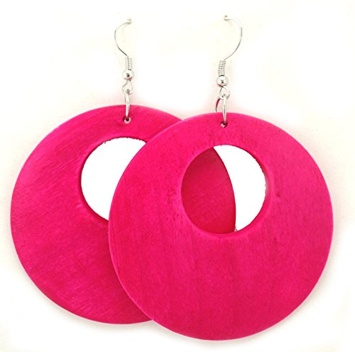 Wooden Earrings – Round Wood Earrings – Wood Earrings – Rasta Earrings-Wooden Handmade Earrings (Pink)