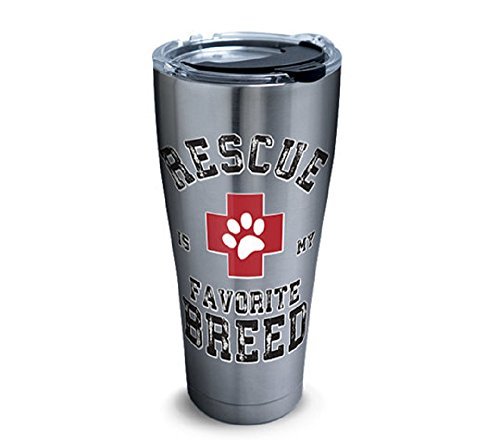 Tervis 1302563 Rescue Favorite Breed Stainless Steel Insulated Tumbler with Clear and Black Hammer Lid, 20oz, - Steel Breed Dog Stainless