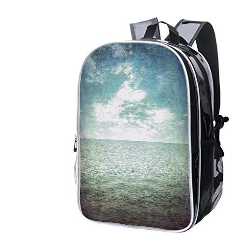 High-end Custom Laptop Backpack-Leisure Travel Backpack Grunge Wallpaper sea and Blue Sky with Cloud Vintage Water Resistant-Anti Theft - Durable -Ultralight- -
