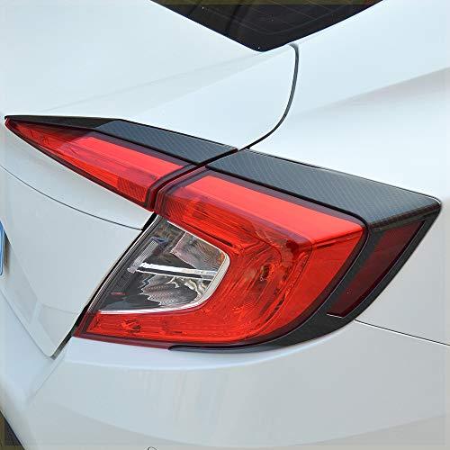 Kadore ABS Carbon Fiber Color Rear Tail Light Cover Eybrow Trim for Honda Civic 2016-2019 Sedan 10th Gen ()