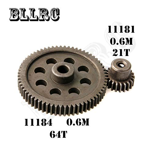 Isali hsp RC car 11184 Steel Metal diff.Main Gear 64T 11181 Motor Gear 21T RC Parts for 1/10 HSP Monster Truck himoto redcat - (Color: 21T) (Main Drive Gear Assembly)
