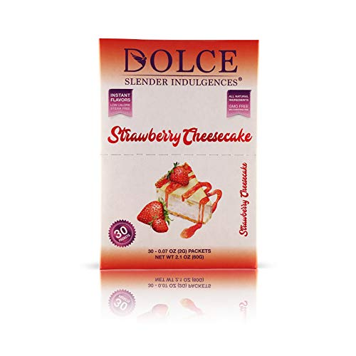 New - Dolce Slender Indulgences® - Monk Fruit Flavored Sweetener - Strawberry Cheesecake. Instant, Low Calorie, Made with Organic and only Natural Ingredients. Certified Non-GMO. Stevia Free.