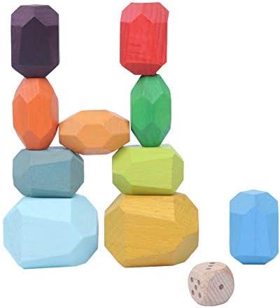 Vigeiya Wooden Stacking Block Toys Creative Balancing Stone Game Rainbow Stacker for Kids Toddlers(10pcs)