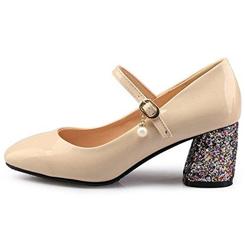 Coolcept Women Fashion Block Heel Court Shoes apricot iv4xP9XBN