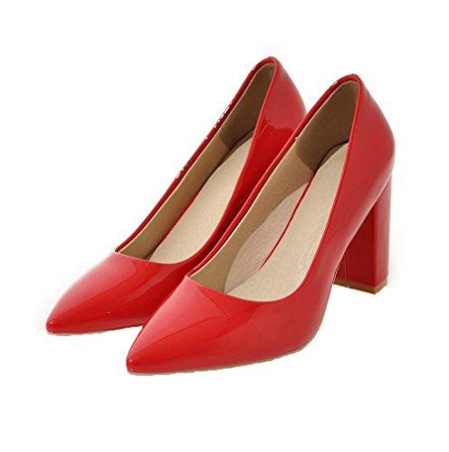 Femme Talon Agoolar Légeres Couleur Rouge Tire À Haut Verni Chaussures Unie C1xxqdYUw