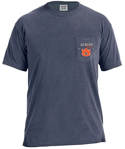 NCAA Auburn Tigers Adventures Short Sleeve Comfort Color Pocket Tee, Medium, Denim