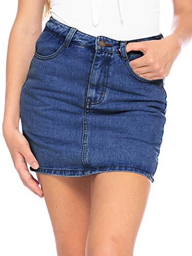 Anna-Kaci Women's Slim Fit Stretch High Waist Jean Denim Skorts Pockets Front Zip Short Skirt, Dark Denim, Medium
