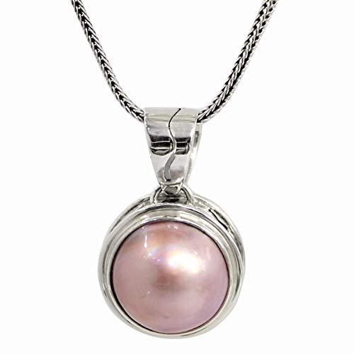 Bali Handmade 925 sterling silver pendant with natural 13 mm pink mabe pearl, 16 mm drop length pendant, beautiful pearl pendant