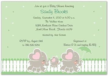 Elephant Family   Neutral Baby Shower Invitations   Set Of 20