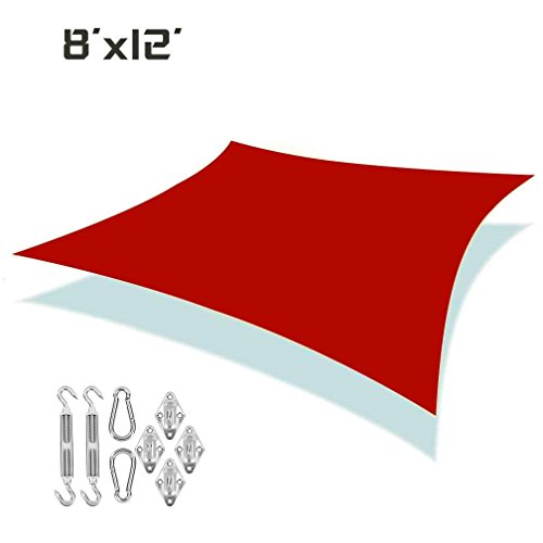 Unicool Deluxe Rectangle 8 x 12 Sun Shade Sails UV Block Outdoor Patio Top Canopy Cover W Stainless Steel Hardware Kit Terracotta Red