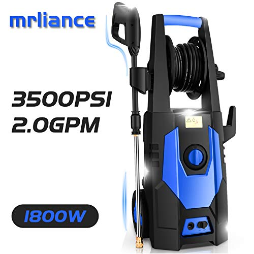 mrliance 3500PSI Electric Pressure Washer 2.0GPM Power Washer 1800W High Pressure Washer Cleaner Machine with Spray Gun, Hose Reel, Brush, and 4 Adjustable Nozzle (Blue)