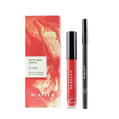 Matte Liquid Lipstick & Lip Liner Set, Hypoallergenic, Gluten-Free, Paraben-Free, Cruelty-Free, Vegan, Peck Pack (Fire) -