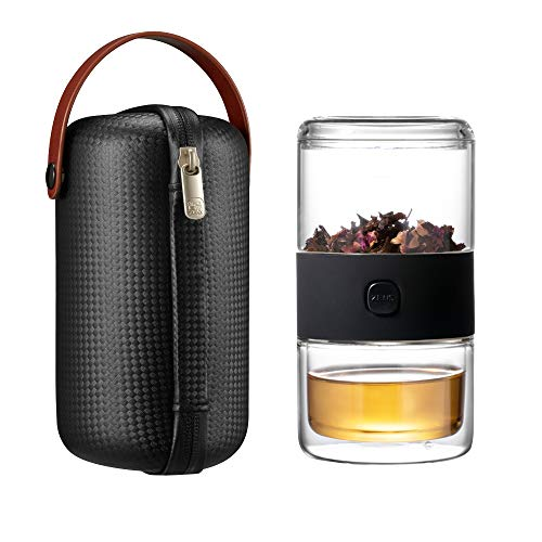 ZENS Travel Tea Sets,Glass Kung Fu Tea Pot with Portable Case,Office Teacups with Infuser Loose Leaf for Travel Home 1 Pot 1 Cup(Black) (Teacup Leaf Loose)