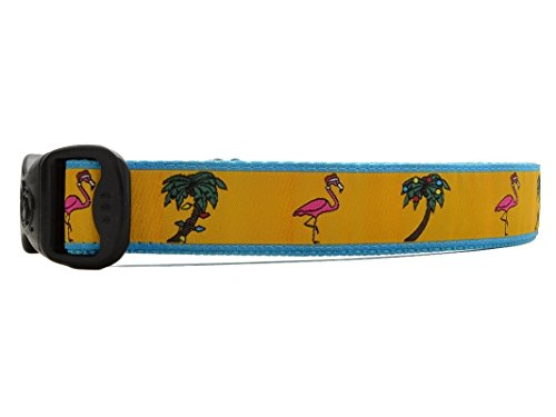 3 Dirty Dawgz Exclusive Adjustable Tropical Flamingo Christmas Dog Collars for Medium Large and X-large Dogs ()