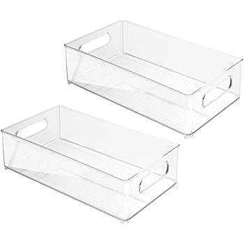 'InterDesign 70530M2EU Refrigerator and Freezer Storage Organizer Bins for Kitchen 2, 36.83 x 20.32 x 10.16 cm, Set of 2' from the web at 'https://images-na.ssl-images-amazon.com/images/I/41slbm0T34L._SL500_AC_SS350_.jpg'