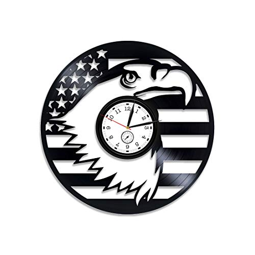 Kovides The American Flag Vinyl Clock Great Seal Clock American Flag Vinyl Record Wall Clock American Flag Wall Clock Modern USA Xmas Gift American Flag Clock USA Vinyl Wall Clock New Year Gift