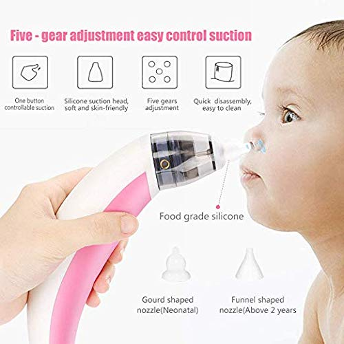 Red WithOutBox YAVOCOS Baby Nasal Aspirator Electric Safe Hygienic Nose Cleaner With 2 Sizes Of Nose Tips And Oral Snot Sucker For Newborns Boy Girls